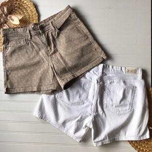 Levi's denim shorts, set of two, tan & white